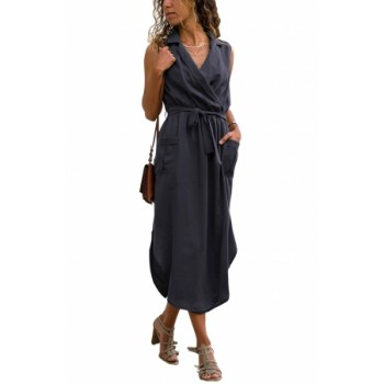 Blue Sleeveless Shirt Long Dress with Pockets Army Green