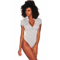 Heather Gray Silver O-Ring Zipper Bodysuit