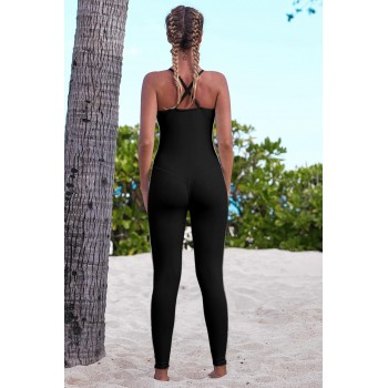 Black Criss Cross Back Sleeveless Fullsuit