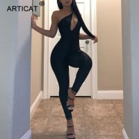 Black One Shoulder Sling Slim Rompers Women's Trendy Personality Sexy Bodycon Jumpsuit
