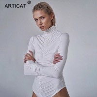 Turtleneck Ruched Bodysuit For Women Solid Long Sleeve Bodycon Jumpsuit Ladies Autumn Streetwear Sporty Silm Rompers