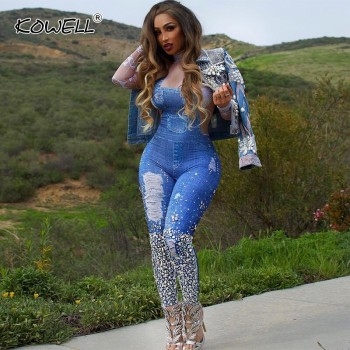 2019 Turtleneck Women Long Sleeve Denim Jumpsuits Geometric Print Patchwork Denim Slim Back Zip One Piece Overall Casual Rompers
