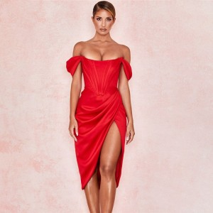 COSYGAL Off Shoulder Red Draped Sexy Dress Women Backless Bodycon Summer Short Dress Elegant Slim Night Party Dresses Club Wear