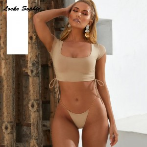 2019 Summer cotton blend Splicing Bandage out super bikini suits set ladies suit twinset