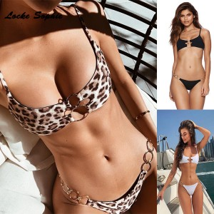 2piece set women's Sexy Bra and shorts 2019 Summer cotton Leopard Splicing Metal ring super bikini suits set ladies suit twinset