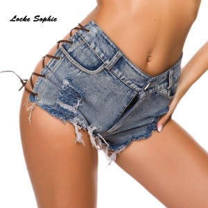 High waist Sexy Women's jeans denim shorts 2019 Summer denim cotton Splicing hole Ladies Skinny Sexy Nightclub super short jeans