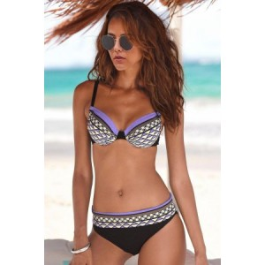 Sky Blue Boho Tribal Print Bikini Swimwear Orange Purple