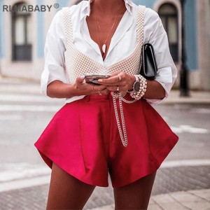 Summer Solid Wide Leg Shorts Button High Waist Shorts High Street Sexy Women Shorts Bottoms Fashion Streetwear Loose Lady Shorts