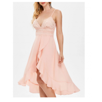 Adjustable Straps High Waist Asymmetrical Flowy Dress - Light Pink