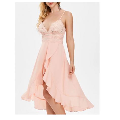 b875c6169f01 Adjustable Straps High Waist Asymmetrical Flowy Dress - Light Pink Zoom.  Product ...