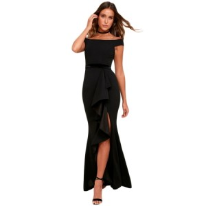 Black Ballroom Bound Off-The-Shoulder Maxi Dress