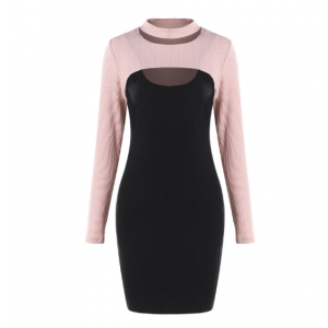 Cut Out Two Piece Knitted Dresses - Black