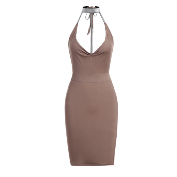 Plunging Halter Cut Out Mini Dress - Light Pink