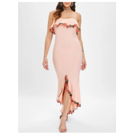 Rose Trim Bodycon Mermaid Dress - Light Pink