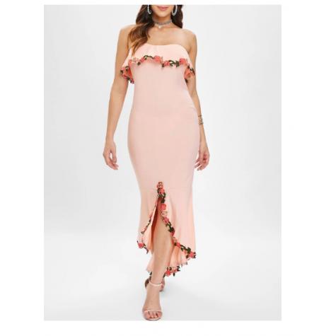 368b19a4e6ee Rose Trim Bodycon Mermaid Dress - Light Pink (Rose Trim Bodycon ...