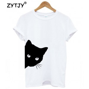Cat looking out side Print Women t-shirt Cotton