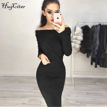 Suede Long Sleeve off shoulder Women mid-calf Dress