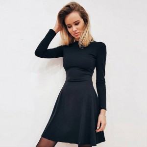 Women Long Sleeve Bodycon O-neck Casual Dress