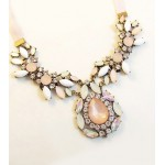 Elegant Diamante Colored Faux Gemstone Embellished Waterdrop Shape Pendant Necklace For Women