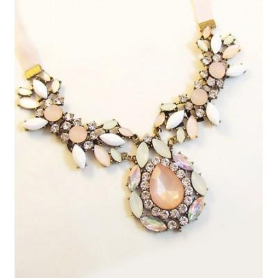 Elegant Diamante Colored Faux Gemstone Embellished Waterdrop Shape Pendant Necklace For Women