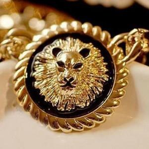 Elegant Style Lion Head Inlaid Round Pendant Women's Necklace