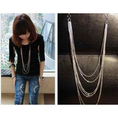 Fashion and Retro Style Laconic and Mix-Matched Tassels Design Necklace
