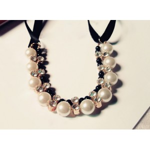 Gorgeous Chic Style Pearl and Rhinestone Decorated Black Ribbon Necklace