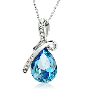 Sparking Waterdrop Rhinestoned Pendant Necklace For Women
