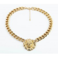 Versatile Lion Head Pendant Alloy Necklace For Women