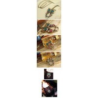 Vintage Style Lifelike Owl Shape Openwork Carving Necklace
