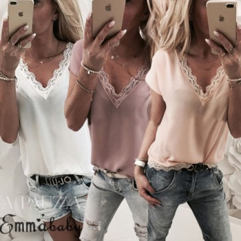 Short Sleeve Blouses Ladies Summer Casual V Neck Lace Patchwork Pink White