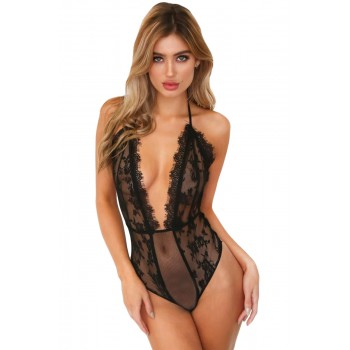 Black Sheer Lace Mesh Plunge Neck Halter Bodysuit