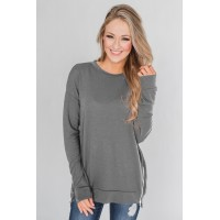 Gray Impress Me Long Sleeve Zipper Top Purple Black