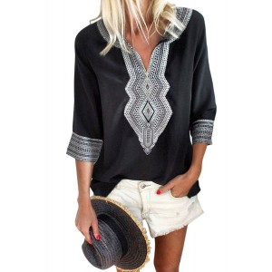 Red Summer Boho Embroidered V Neck Loose Blouse Black Blue