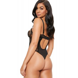 Wired Cups Black Lace Mesh Bodysuit