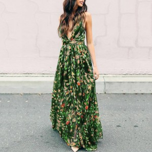 Maxi Dress Summer Sexy Long Dresses V-Neck Sundress High-Waist Strap Floral Backless Green White Yellow