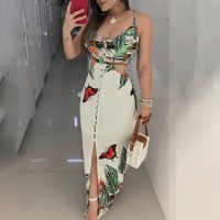 Sexy Floral Dress Women Hollow Out Spaghetti Strapless Flower Printed Dress Sleeveless Boho Style Maxi Dress