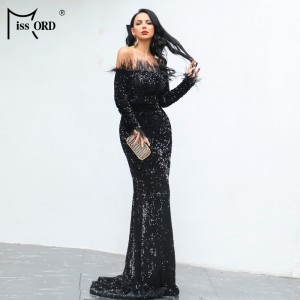Sexy Off Shoulder Feather LongSleeve Sequin floor length Evening party Maxi Reflective White Black