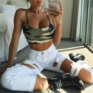Sexy Tank Vest Crop Top Sleeveless Camouflage Print Blue Gray Green Orange Pink