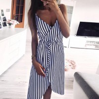 Stripe Printing Sleeveless Off Shoulder Dress Evening Black Red Blue