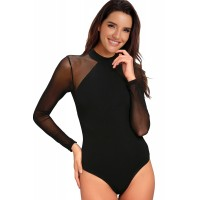 Entrancing Blue Mesh Long Sleeve Bodysuit Black