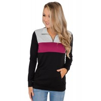 Green On the Go Quarter Zip Pullover Rose