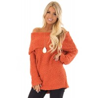 Orange Off The Shoulder Comfy Sweater Gray Pink