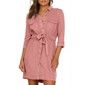 Pink Seeker Belted Shirt Dress Green Black