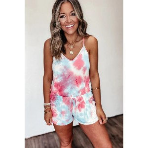 Blue Colorblock Tie Dye Romper Yellow