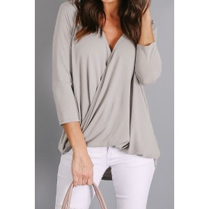 Green Wrap Hi-lo Hem Blouse Gray