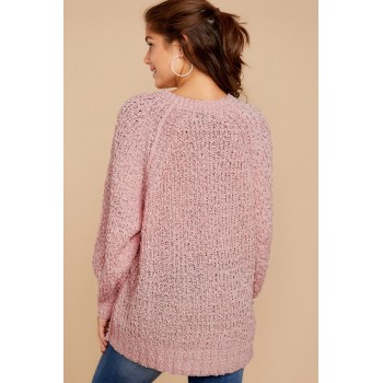 Pink Chill in The Air Sweater Apricot Khaki