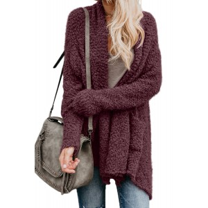 Purple Winter Baggy Cardigan Coat Black Gray Pink