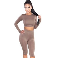 Crop Top Pants O-Neck Party Outfit Workout Clothes Khaki Black