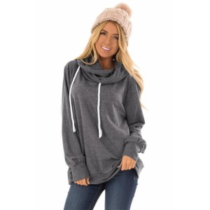 Green Long Sleeve Hoodie with Rope Drawstring Blue Gray Black